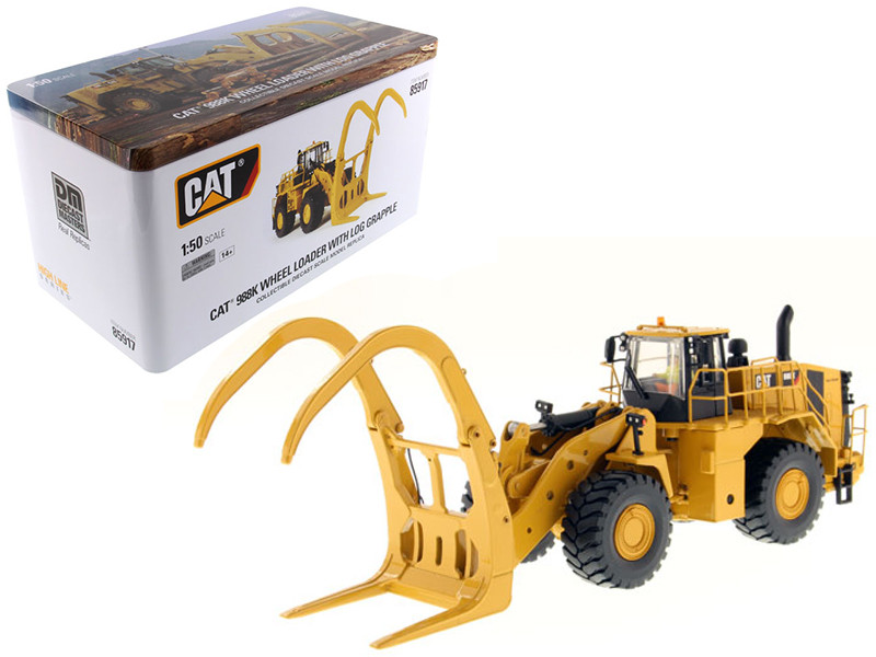 CAT Caterpillar 988K Wheel Loader with Grapple with Operator 1/50 Diecast Model Diecast Masters 85917