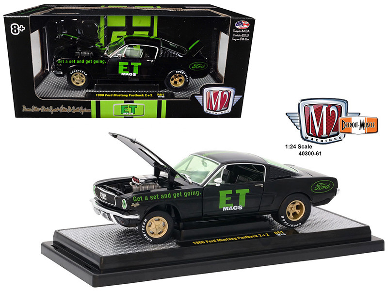 1966 Ford Mustang 2+2 Fastback E.T. Mags Black 1/24 Diecast Model Car M2 Machines 40300-61