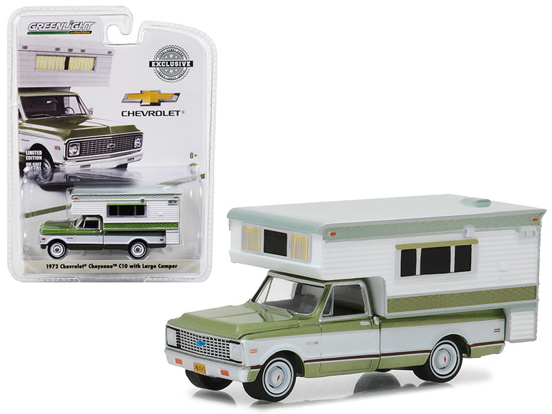 1972 Chevrolet C10 Cheyenne Green with Large Camper Hobby Exclusive 1/64 Diecast Model Car Greenlight 29921