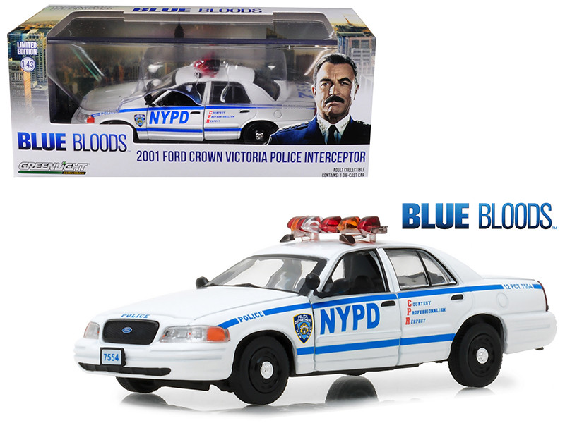 2001 Ford Crown Victoria Police Interceptor NYPD from Blue Bloods 2010-Current TV Series 1/43 Diecast Model Car Greenlight 86519