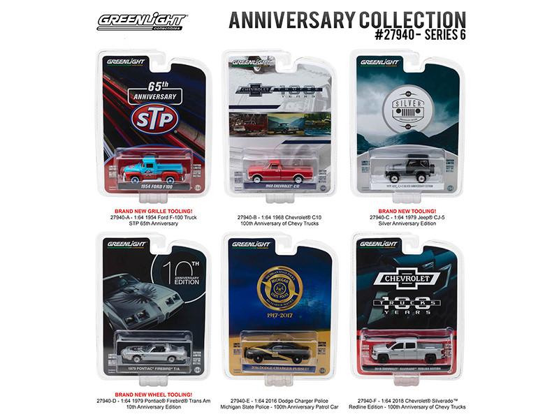 Greenlight Anniversary Collection Series 6 6pc Diecast Car Set 1/64 Diecast Model Cars Greenlight 27940