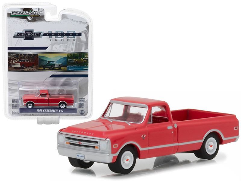1968 Chevrolet C-10 Red 100th Anniversary of Chevy Trucks Anniversary Collection Series 6 1/64 Diecast Model Car Greenlight 27940 B