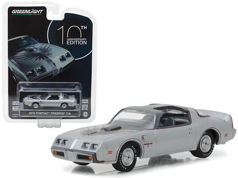 1979 Pontiac Firebird Trans Am Silver 10th Anniversary Edition Anniversary Collection Series 6 1/64 Diecast Model Car Greenlight 27940 D