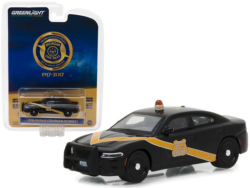 2016 Dodge Charger Police Pursuit Black with Yellow Stripe Michigan State Police 100th Anniversary Patrol Car Anniversary Collection Series 6 1/64 Diecast Model Car Greenlight 27940 E