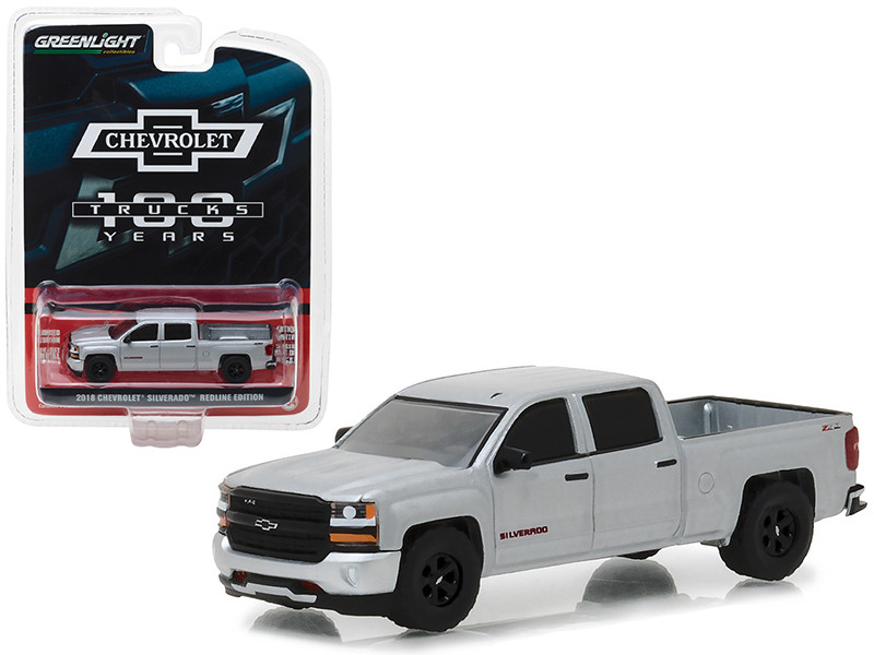 2018 Chevrolet Silverado Redline Edition Silver 100th Anniversary of Chevy Trucks Anniversary Collection Series 6 1/64 Diecast Model Car by Greenlight 27940 F