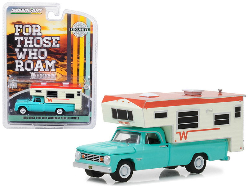 1965 Dodge D-100 Turquoise with Winnebago Slide-In Camper Hobby Exclusive 1/64 Diecast Model Car by Greenlight 29923