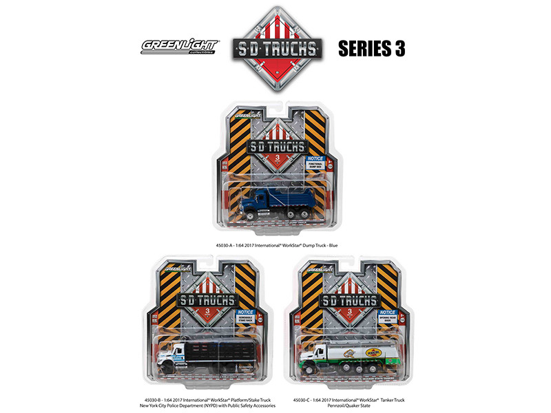 2017 International Workstar Trucks Set of 3 S.D. Trucks Series 3 1/64 Diecast Models Greenlight 45030