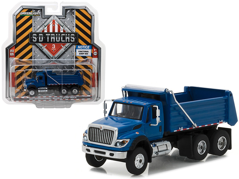 2017 International Workstar Construction Dump Truck Blue S.D. Trucks Series 3 1/64 Diecast Model Greenlight 45030 A