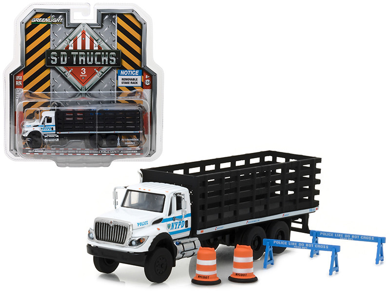 2017 International Workstar Platform Stake Truck New York City Police Department NYPD with Public Safety Accessories S.D. Trucks Series 3 1/64 Diecast Model Greenlight 45030 B