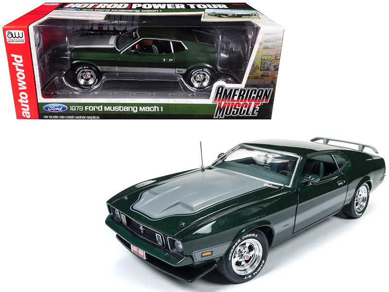 1973 Ford Mustang Mach 1 Dark Green with Silver Stripes from Hot Rod Magazine Limited Edition to 1002 pieces 1/18 Diecast Model Car Autoworld AMM1144