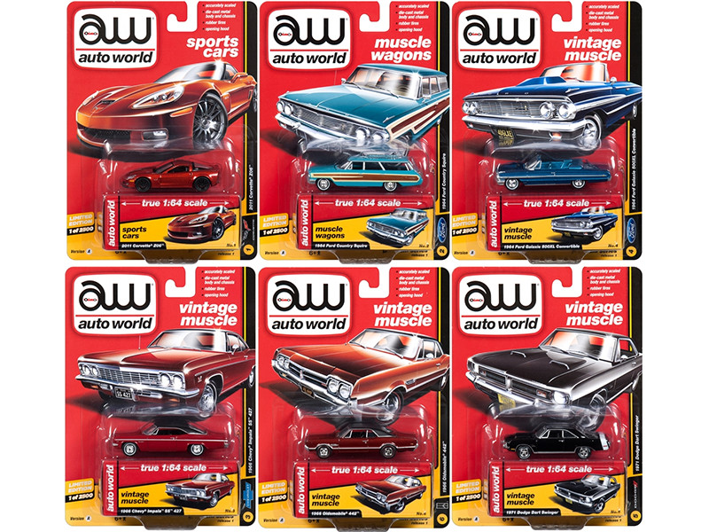 Autoworld Muscle Cars Premium 2018 Release 1 A Set of 6 Cars 1/64 Diecast Model Cars Autoworld 64162 A