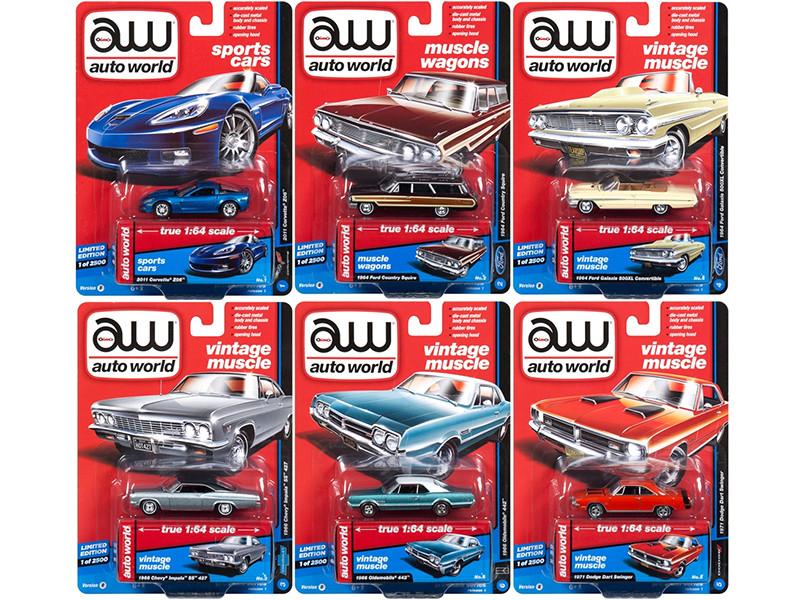 Autoworld Muscle Cars Premium 2018 Release 1 B Set of 6 Cars 1/64 Diecast Model Cars Autoworld 64162 B