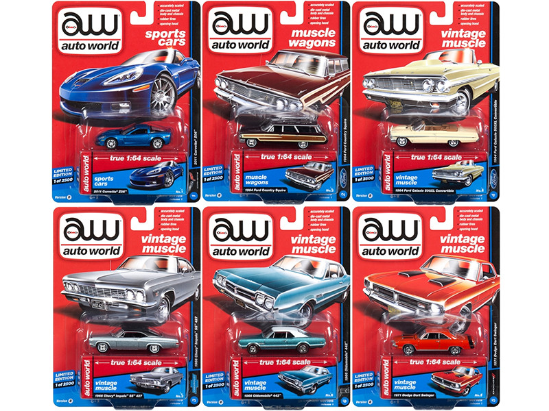Autoworld Muscle Cars Premium 2018 Release 1 B Set of 6 Cars 1/64 Diecast Model Cars Autoworld 64162 B