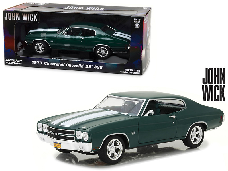 1970 Chevrolet Chevelle SS 396 Metallic Green Driven by Keanu Reeves in Movie John Wick 2014 1/18 Diecast Car Model Greenlight 13505