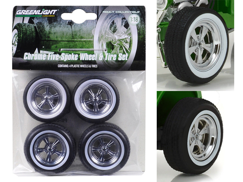 5 Spoke Wheels and Tires Set of 4 from 1932 Ford Custom Hot Rod 1/18 by Greenlight 12976