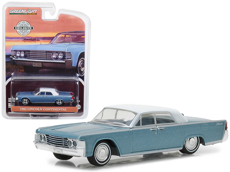 1965 Lincoln Continental Convertible Top-Up Huron Blue Hobby Exclusive 1/64 Diecast Model Car Greenlight 29932