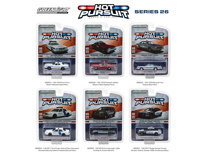 Hot Pursuit Series 26 Set of 6 Cars 1/64 Diecast Model Cars Greenlight 42830