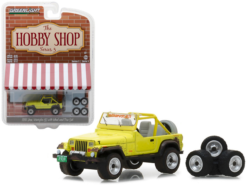 1991 Jeep YJ Yellow with Wheel and Tire Set The Hobby Shop Series 3 1/64 Diecast Model Car Greenlight 97030 D