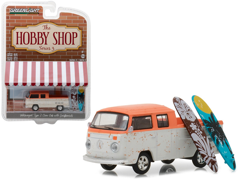 Volkswagen Type 2 Crew Cab Pickup Doka Orange and White with Surfboards The Hobby Shop Series 3 1/64 Diecast Model Car Greenlight 97030 F