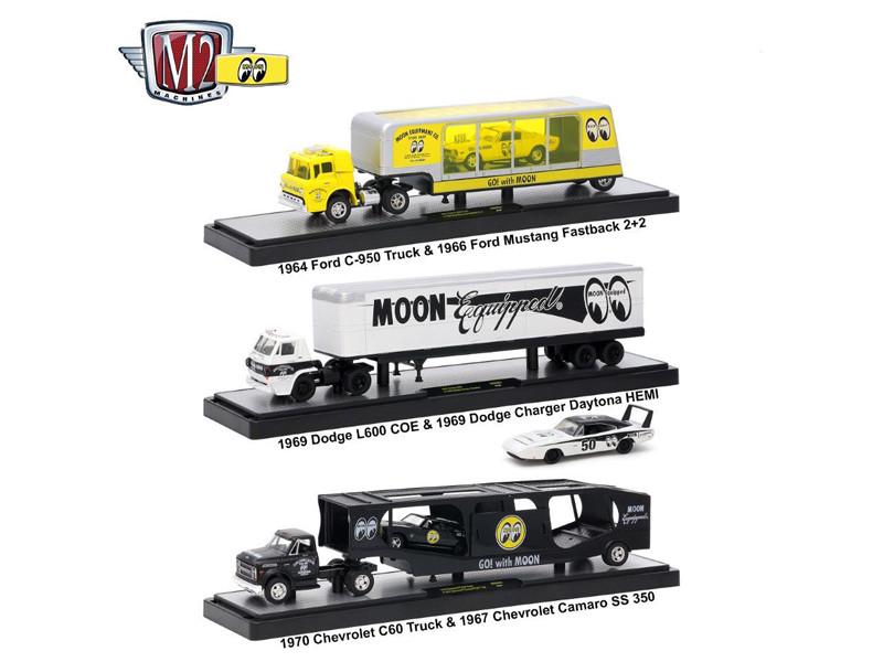Auto Haulers Mooneyes Release 3 Trucks Set 1/64 Diecast Models M2 Machines 36000-MOON01