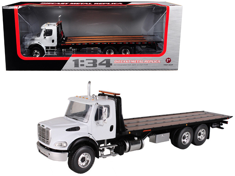 Freightliner M2 Flatbed Tow Truck with Jerr-Dan Rollback Carrier 1/34 Diecast Model First Gear 10-4020