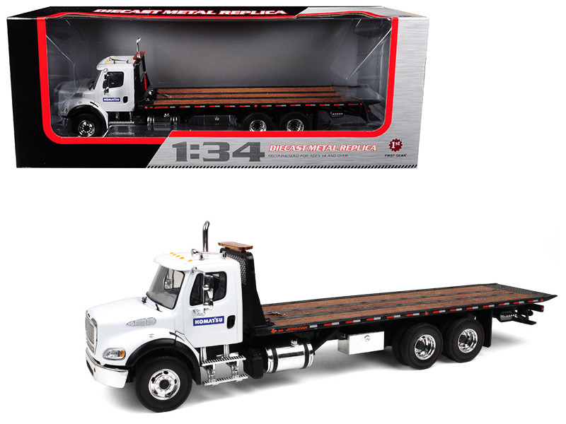 Freightliner M2 Komatsu Flatbed Tow Truck with Jerr-Dan Rollback Carrier 1/34 Diecast Model First Gear 10-4020 A