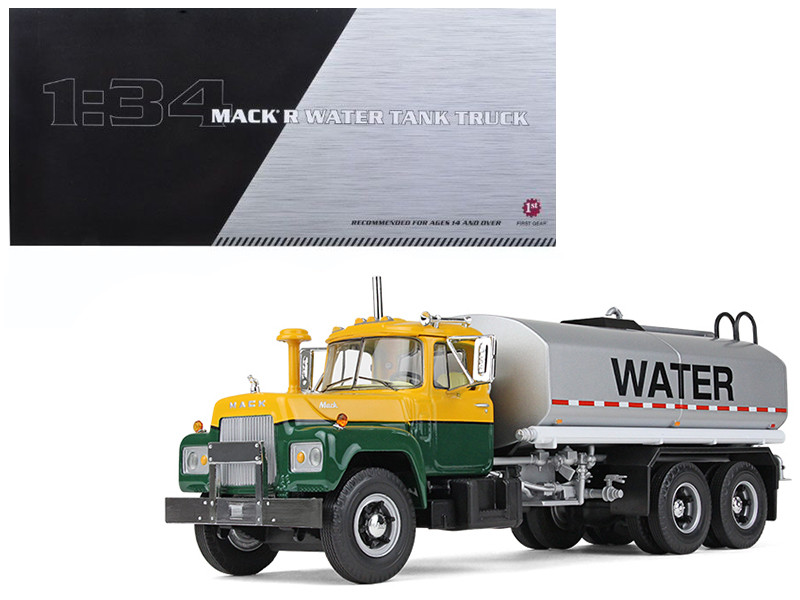 Mack R Water Tank Truck Yellow Green Silver 1/34 Diecast Model Car First Gear 10-4069
