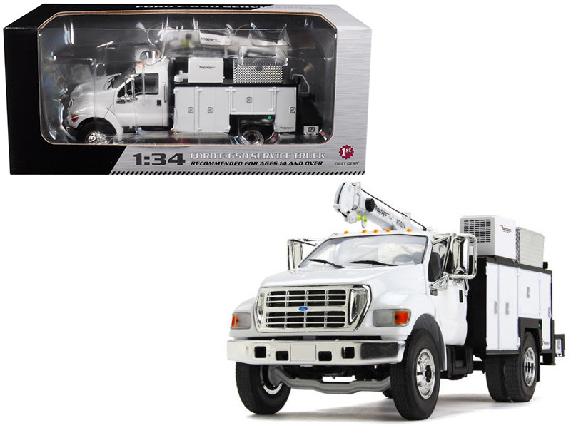 Ford F-650 with Maintainer Service Body White 1/34 Diecast Model Car First Gear 10-4107