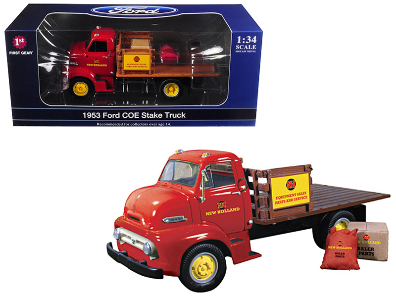 1953 Ford COE Stake Truck with load New Holland Parts & Service 1/34 Diecast Model First Gear 19-3913