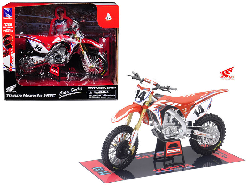 Honda Racing Team CRF450R Cole Seely #14 Motorcycle Model 1/12 New Ray 57933