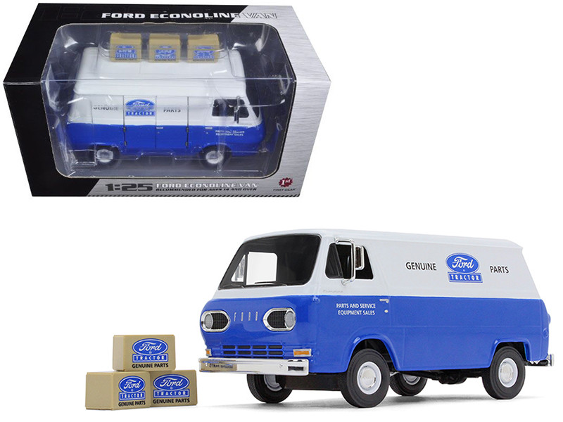 1960's Ford Econoline Van Blue with Three Boxes Ford Tractor Parts & Service 1/25 Diecast Model Car First Gear 40-0394