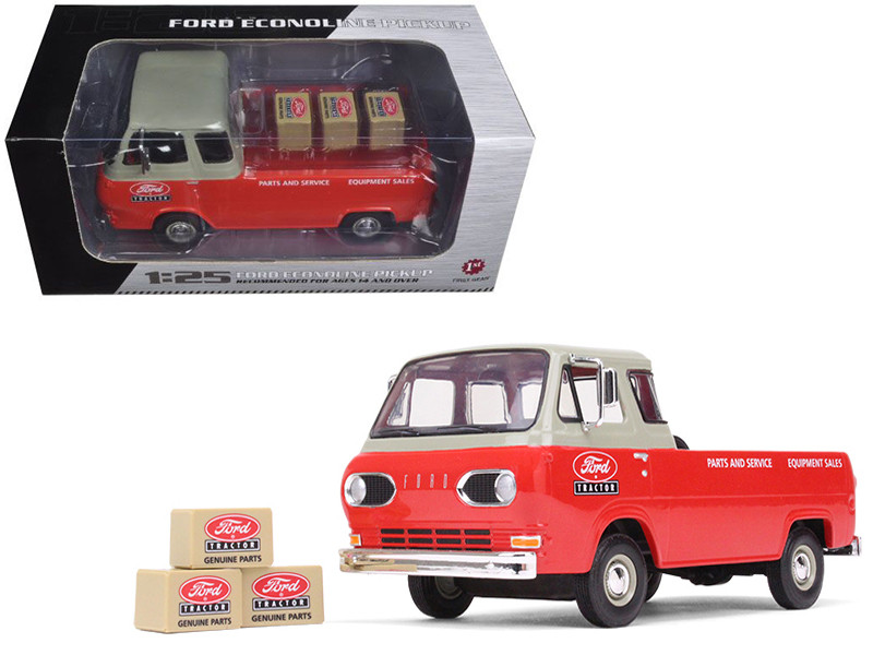 1960's Ford Econoline Pickup Red with Boxes Ford Tractor Parts & Service 1/25 Diecast Model Car First Gear 40-0396