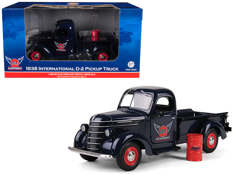 1938 International D-2 Pickup GULF Aviation Products Truck With Barrel 1/25 Diecast Model First Gear 49-0312