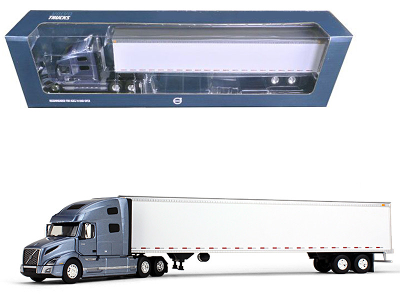Volvo VNL 760 Sleeper Cab with 53' Trailer Smoky Mountain Blue Metallic and White 1/50 Diecast Model Car First Gear 50-3373 T