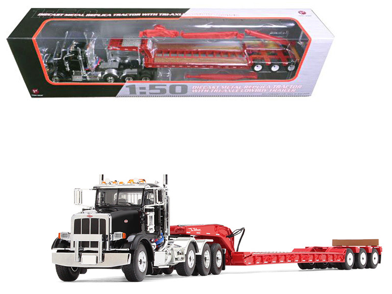 Peterbilt 367 with Tri Axle Lowboy Trailer Black and Red 1/50 Diecast Model First Gear 50-3379