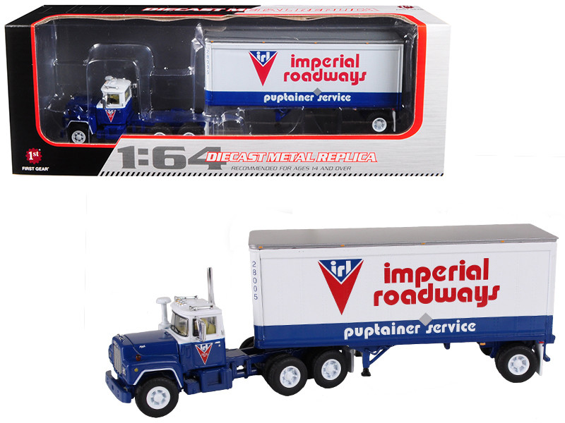 Mack R Model With 28' Pop Trailer Imperial Roadways 1/64 Diecast Model First Gear 60-0265