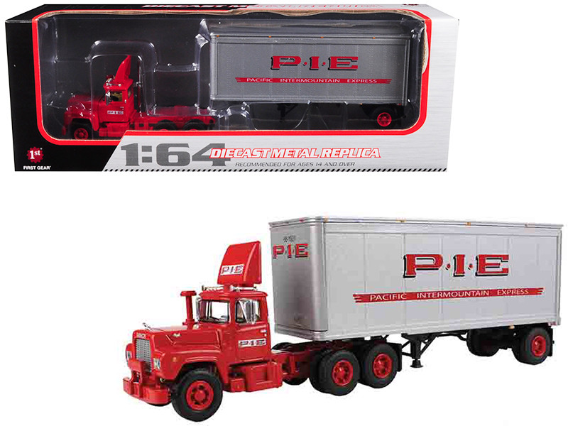 Mack R Model Day Cab P.I.E. With 28' Pop Trailer 1/64 Diecast Model First Gear 60-0266