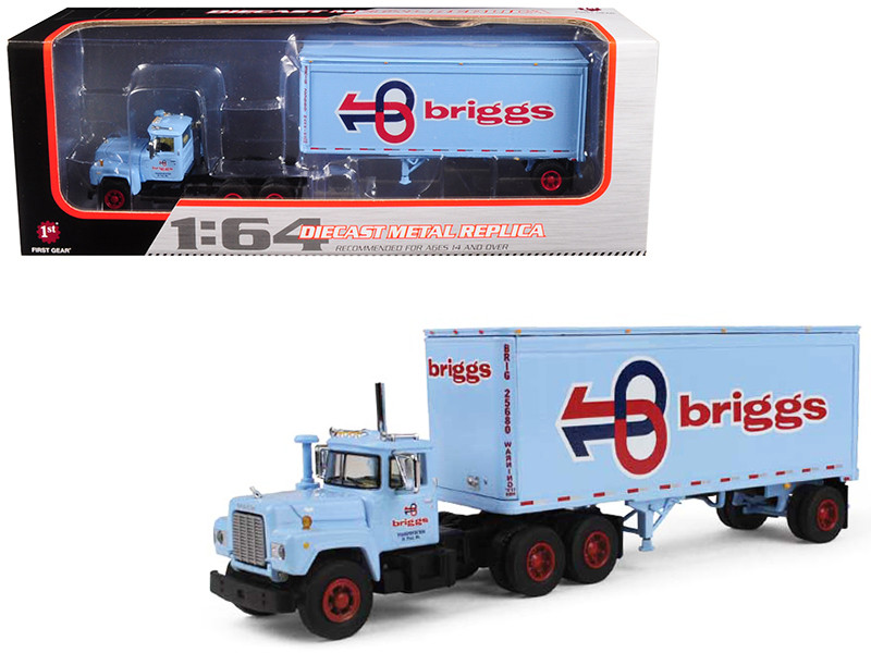 Mack R Model With 28' Pop Trailer Briggs Transportation 1/64 Diecast Model First Gear 60-0284