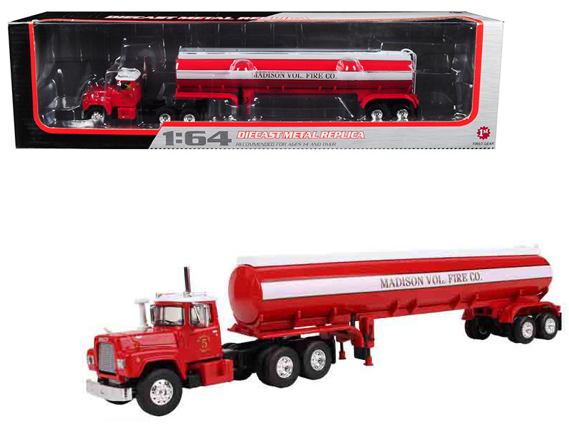 Mack R-Model with 42' Water Tank Trailer Madison Fire Co. 1/64 Diecast Model First Gear 60-0289