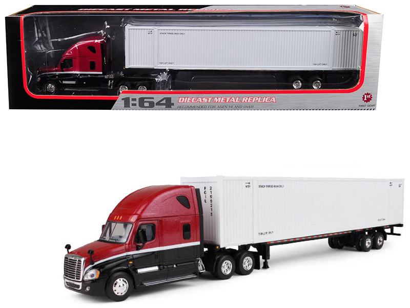 Freightliner Cascadia High-Roof Sleeper Tractor with 53' Ribbed Side Intermodal Container and Chassis 1/64 Diecast Model First Gear 60-0305