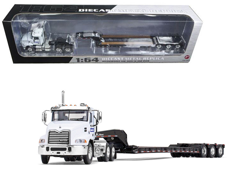 Mack Pinnacle With Axle Lowboy Trailer Komatsu 1/64 Diecast Model Car First Gear 60-0347