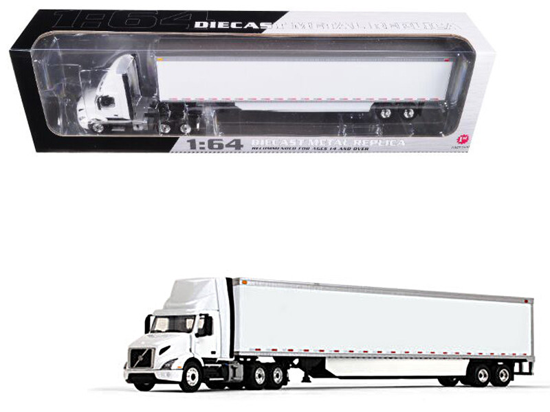Volvo VNR 300 White Day-Cab with 53' Box Trailer and Side Skirts 1/64 Diecast Model First Gear 60-0368