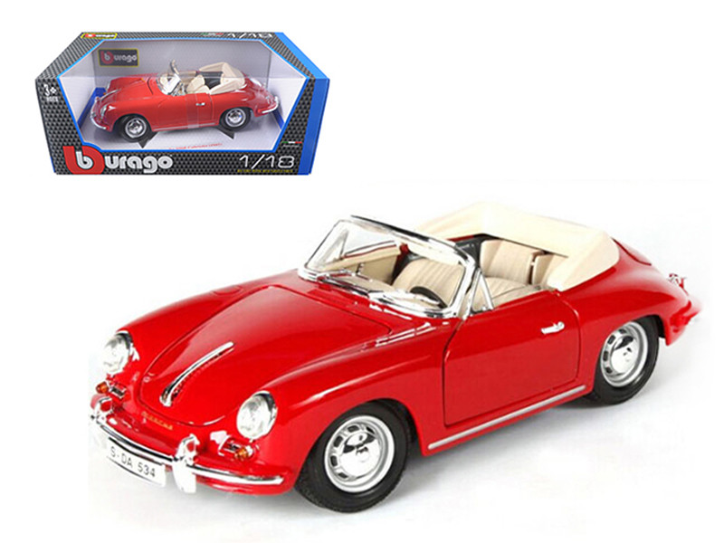 1961 Porsche 356B Cabriolet Red 1/18 Diecast Model Car by Bburago