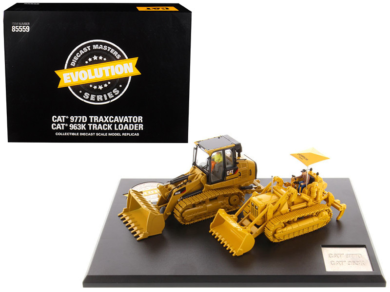 CAT Caterpillar 977D Traxcavator Circa 1955-1960 and CAT Caterpillar 963K Track Loader Current with Operators Evolution Series 1/50 Diecast Models Diecast Masters 85559