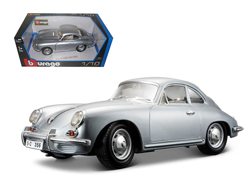 1961 Porsche 356B Coupe Silver 1/18 Diecast Car Model by Bburago