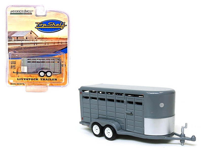 Livestock Trailer Gray Top Shelf Replicas Series 1/64 Diecast Model Greenlight 51099