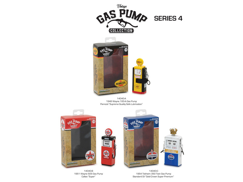 Vintage Gas Pump Series 4 Set of 3 Pumps 1/18 Diecast Models Greenlight 14040 A B C