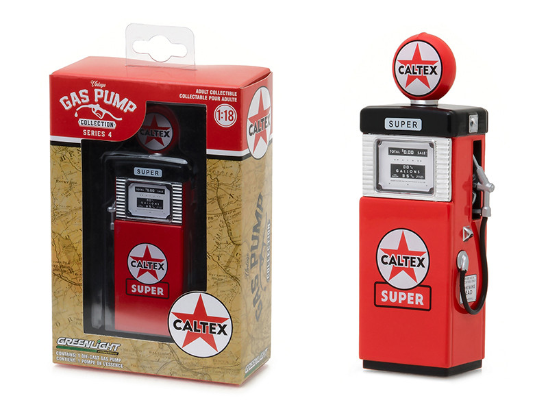 1951 Wayne 505 Gas Pump Caltex Super Gas Pump Replica Vintage Series 4 1/18 Diecast Model Greenlight 14040 B