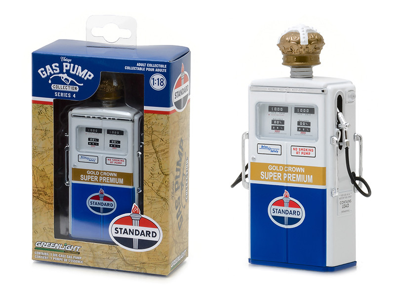 1954 Tokheim 350 Twin Gas Pump Standard Oil Gold Crown Super Premium Gas Pump Replica Vintage Series 4 1/18 Diecast Model Greenlight 14040 C