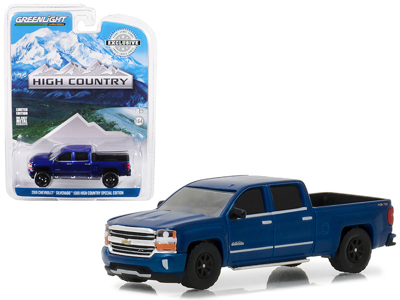 2018 Chevrolet Silverado 1500 High Country Special Edition Deep Ocean Blue Hobby Exclusive 1/64 Diecast Model Car Greenlight 29938